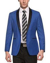 Stylish Casual 1 Button Slim Fit Shawl Lapel Light Blue Coat Blazer Suit Jacket