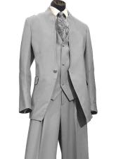 ID#DB20132 Single Breasted 1 Button Light Grey 3 ~ Three Piece Vested Online Indian Wedding Outfits ~ Mandarin ~ Nehru Collar Jacket Collarless Style Modern Fit Suit