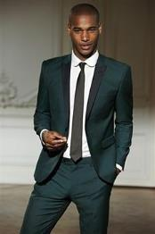ID#VJ15160 Black Lapel Prom ~ Wedding Groomsmen Tuxedo Dark Olive Green Custom Made Suit