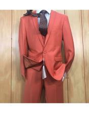 ID#KO19122 3 ~ Three Piece Orange One button Style Peak Lapel Vested Cheap Clearance Sale Extra Slim Fit Prom Suit