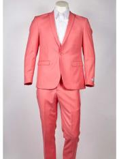 ID#SM978 One Button Single Breasted Slim Fit Peach ~ Pinkish ~ Coral Peak Collared Lightweight Material Summer Polyester Suits Men