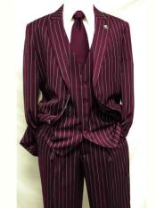 ID#SP25274 Burgundy ~ White Gangster Bold Pinstripe Striped Mars Vested Three Piece Fashion 1920s Mens Fashion Clothing 1930s 50s Outfit Costume Suit Pleated Pant