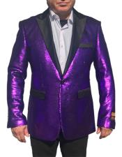 Button Purple Blazer Suit