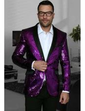 1 Button Purple Shiny Best Cheap Blazer Suit Jacket For Affordable Cheap Priced Unique Fancy For Men Available Big Sizes on sale Men Dinner Jacket Sharkskin Flashy Stage Jacket Affordable Sport Coats Sale