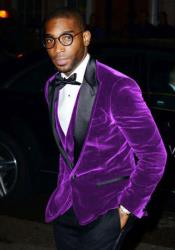 ID#DB23148 Purple  1 Button Big and Tall Large Man ~ Plus Size Velvet Satin Blazer Suit Jacket