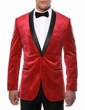 ID#NM16 Christmas Red Blazer 1 Button Black Shawl Lapel Side Vented Velvet Two Toned Best Inexpensive ~ Cheap ~ Discounted Blazer Suit Jacket For Affordable Cheap Priced Unique Fancy For Men Available Big Sizes on sale Men Affordable Sport Coats Sale