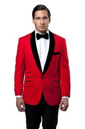 1 Button Tazio Shawl Collar Velvet Slim Fit Christmas Red Best Cheap Blazer Suit Jacket For Affordable Cheap Priced Unique Fancy For Men Available Big Sizes on sale Men Affordable Sport Coats Sale