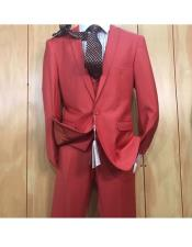 ID#KO19124 3 ~ Three Piece Single Breasted One Button Style Peak Lapel Vested Cheap Clearance Sale Extra Slim Fit Prom Red Suit