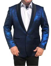 ID#DB20618 Royal Blue  1 Button Black Shawl Lapel Blazer Suit Jacket