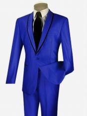 Sheened Contrasting 1 Button Trim Shawl Collar Inexpensive ~ Cheap ~ Discounted Clearance Sale Extra Slim Fit Suit Prom Royal Light Blue Perfect for wedding