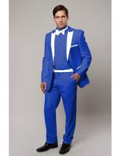 ID#DB22316 Regular Fit 1 Button Royal Blue with Black Suit