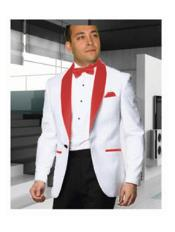 1 Button Shawl Lapel White Blazer ~ Suit Jacket Dinner Jacket Affordable Cheap Priced Unique Fancy For Men Available Big Sizes Sport Coats Sale - Red Tuxedo