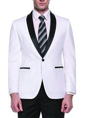 White Slim Fit One Button Shawl Lapel Stylish Casual Coat Blazer ~ Suit Jacket