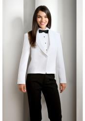 Tuxedo White Solid Polyester 1 Button Shawl Lapel Jacket