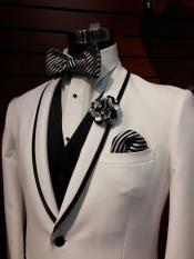 ID#DB22890  1 Button White Trimmed Shawl Lapel Black Vest Tuxedo