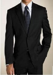 One Buttons Black Wool Suit