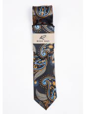 Orange/Blue Paisley Designed Neck