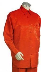Orange Long length Sleeve 2pc Combo including Matching Wide Leg Dress Pants