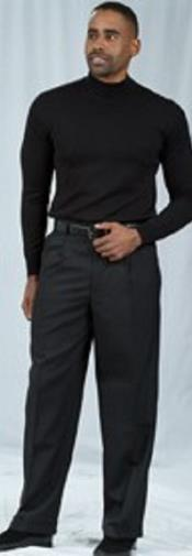 ID#TM15139 Pleated Baggy Fit Dress Pant Pacelli Black