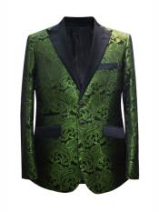 ID#DB24637  Paisley Design Dark Olive Sport Coat Fancy Party Blazer For Me