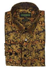 Pattern Collared Brown Jacquard