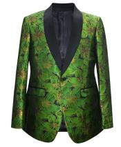 ID#DB24646  1 Button Pasiley Green Sport Coat Blazer Suit Jacket