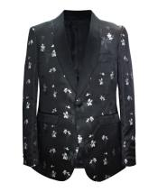 ID#DB24644 1 Button Pasiley Pattern Shawl Lapel Black Sport Coat Blazer