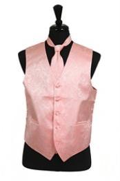 ID#VS2783 Paisley tone on tone Groomsmen Ties Combo Peach (Buy 10 of same color Tie For $25 Each) Groomsmen Wedding Vest ~ Waistcoat ~ Waist coat For Groom and Groomsmen