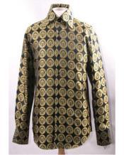 ID#VJ15779 Pendant Design High Collar Cheap Fashion Clearance Shirt Sale Online For Men Black Gold