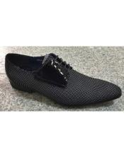 Pin Dot Pattern Black / White Genuine Soft Genuine leather Lace Up Zota Shoes