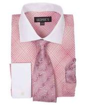 ID#SM1185 French Cuff Mini Plaid/Checks Rose Pink Dress Shirt With Tie And Handkerchief