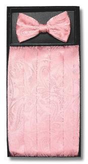 ID#DB17175 Polyester Pink Paisley Design Bowtie & Matching Cummerbund