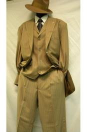 ID#DB22527 3 Piece Bold ~ Chalk 3 ~ Three Piece ~ Gangster Pinstripe ~ Stripe Tan Wedding / Prom /White Zoot 1920s Mens Fashion Clothing 1930s 50s Outfit Costume Suit