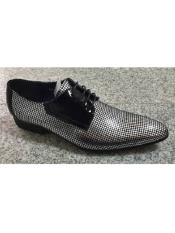 ID#VJ16508 Silver Polka Dot Style Zota Lace Up Pointy Toe Fashion Formal Shoes For Men