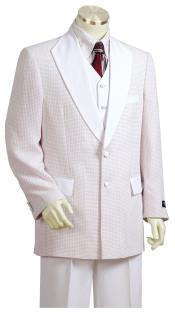 ID#DB23862 2 Button Polka Dot Shawl Lapel White Plain Zoot Suit