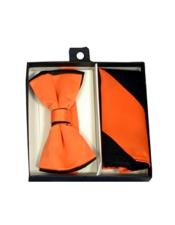 ID#DB21210 Polyester Black/Orange Satin Dual Colors Classic Bow Groomsmen Ties With Hankie