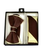 ID#DB21222 Polyester Satin Dual Colors Classic Ivory/Brown Bow Groomsmen Ties With Hankie