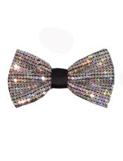 ID#DB21234 Polyester Sequin Glitter Silver Bow Groomsmen Ties