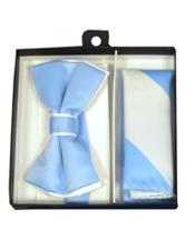 ID#DB21225 Polyester Satin Dual Colors Classic White/Light Blue Bow Groomsmen Ties With Hankie