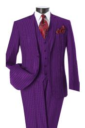 ID#DB22539 Purple and Black Pinstripe Pattern 2 Button 3 ~ Three Piece Notch Lapel Vested Suit