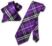 ID#EV8689 Purple pastel color Dark color black White NeckTie & Handkerchief Neck Groomsmen Ties Combo