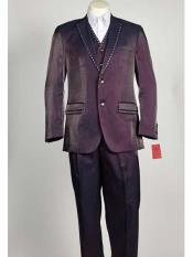 ID#SM1032 Purple pastel color 3 Piece Shiny Sharkskin Notch Collared Rhinestone Pinstripe Suit