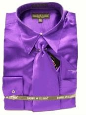 ID#EJ818 New Purple pastel color Satin Dress Cheap Fashion Clearance Shirt Sale Online For Men Tie Combo Shirts