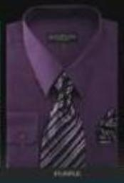 ID#d1pws2MU Conservative Style Dark Purple pastel color Dress Shirt&Tie&HANKIE