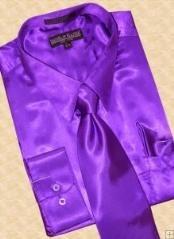 Satin Purple pastel color Dress Cheap Fashion Clearance Shirt Sale Online For Men Tie Hanky Combo