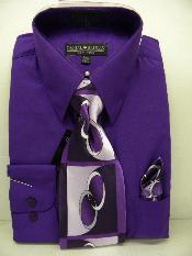 ID#QL1002 Purple pastel color Dress Cheap Fashion Clearance Shirt Sale Online For Men Tie Combo