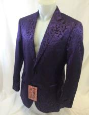 ID#DB17623 Purple Paisley-100 Alberto Nardoni Fancy Party Blazer Suit Jacket For Men