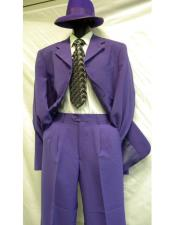 ID#DB22124 Notch Lapel Purple 7 Buttons Long 2PC Fashion Gangster  Suit