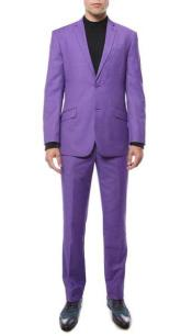 Purple pastel color Two buttons Classic Notch Collared Cheap Clearance Sale Prom Extra Slim Fit Suit
