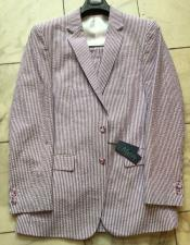 ID#IS19856 Cotton Blend seersucker Modern Fit Purple/White Striped Wedding Suits For Groom For Sale Flat Front Pants
